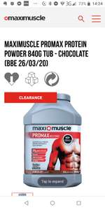 Maximuscle protein 840g (BBE 26/03/20) £4.99 with code +£3.95 delivery @ Maximuscle