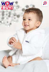 Embroidered Personalised Baby Unisex Robe 0-6 months £3 delivered with code @ Studio