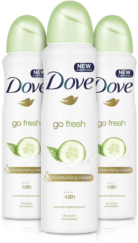 Dove Go Fresh Cucumber Aerosol Anti-Perspirant Deodorant 150 ml (Pack of 3) £3.88 Prime / +£4.49 non Prime @ Amazon