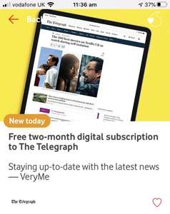 Free two-month digital subscription to The Telegraph with Vodafone VeryMe Rewards
