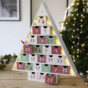 Festive Wooden Fill Your Own LED Advent Calendar Tree less than half price - £10.40 @ Lisa Angel Jewellery