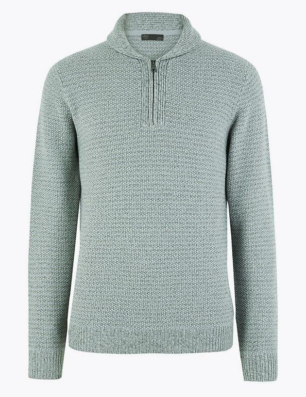 M&S Collection Half Zip Shawl Neck Jumper £8.99 + £3.95 delivered @M&S
