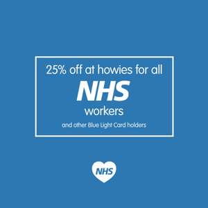 25% off all full price Howies gear to NHS or blue light card holders