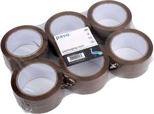 PAVO Premium 50 mm x 66 m Polypropylene Packing Tape - Brown (Pack of 6), £3.60 at Amazon Prime / £8.09 Non Prime