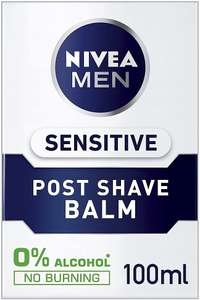 Nivea Men Sensitive Post Shave Balm with Zero Percent Alcohol (Pack of 3 x 100 ml) £8.25 (Prime) £12.74 (Non Prime) at Amazon