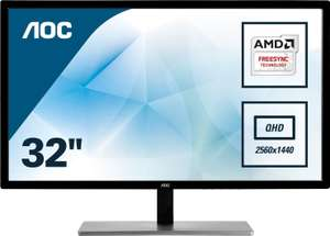 "AOC Q3279VWFD8 31.5"" Quad HD IPS LED Freesync 75Hz Black Monitor £198.99 delivered at CCL Online"