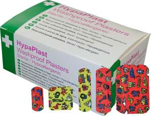 HypaPlast Childrens Washproof Plasters - Assorted (Pack of 100) £3.50 Prime £7.99 Non Prime at Amazon