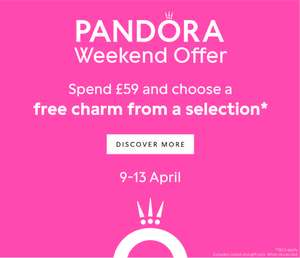 Spend £59 or more on Pandora The Jewel Hut and receive a FREE Pandora charm.