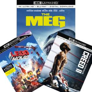Creed II / The Lego Movie / The Meg - 4K Ultra HD Blu-Ray + others from £17.98 delivered @ zavvi