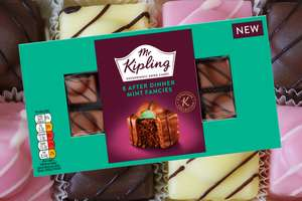 Mr Kipling 8 Pack, After Dinner Mint Fancies. 69p. Heron Foods. Abbey Hulton.