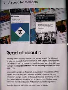 Samsung Members Offer: 3 months free + 2 months half price of The Telegraph digital subscription