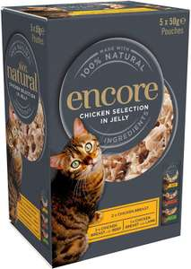 Encore Natural Wet Cat Food, Multipack, Chicken Selection In Jelly Pouch, 50 g (Pack of 20) £2.85 (+£4.49 Non Prime) @ Amazon
