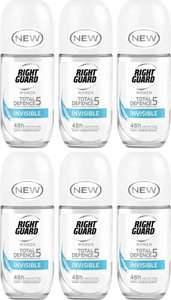 Right Guard Women Total Defence 5 Invisible Anti-Perspirant Roll On, 50 ml (Pack of 6) £6 (+£4.49 NP) (£5.70 with S&S) at Amazon