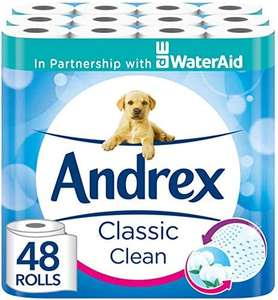 Andrex Classic Clean Toilet Tissue 48 Toilet Rolls £18.67 (+£4.49 NP) at Amazon