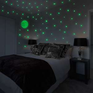 Glow In The Dark Moon & Stars Wall Stickers   Pukkr £3.99 free delivery using code at Roov