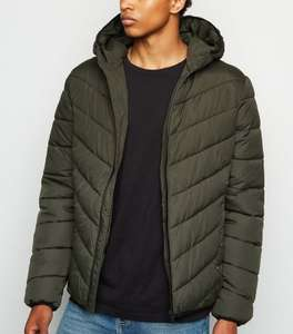 New Look Mens' OOS Entry Puffer Jacket, Dark Khaki, Hooded, XS Or Small £12, XL £9.20 (+£4.49 Non-Prime) @ Amazon