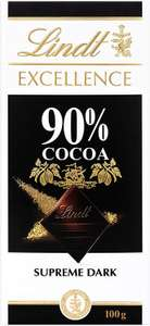 Lindt Excellence Supreme Dark 90% Cacao Chocolate Bar 100g ( pack of 5) £7.50 @ Amazon (+£4.49 non-prime