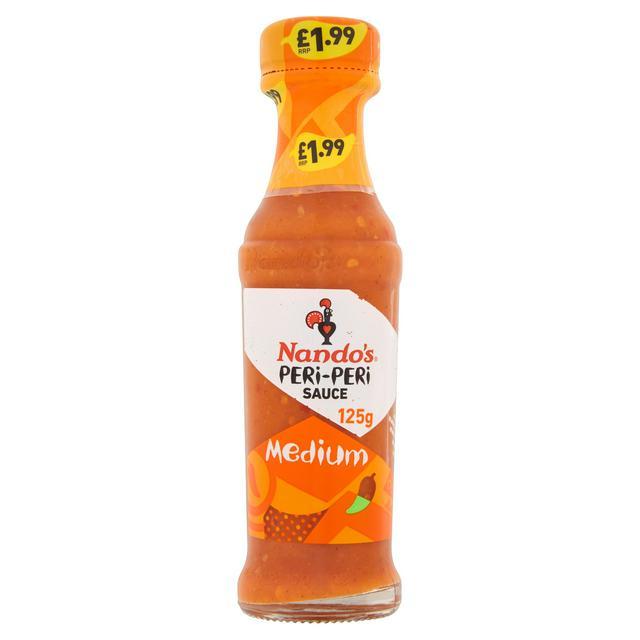 Nando's Peri Peri Sauce Medium / Hot / XX Hot / Garlic / Lemon & Herb 125g £1 @ Sainsbury's (Min basket £40 + up to £7 delivery)