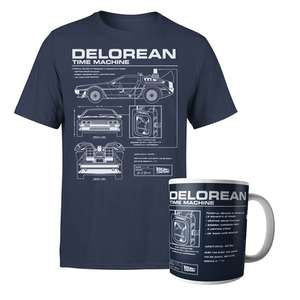 Back To The Future DeLorean Schematic T-Shirt AND Mug £8.99 + £2.99 delivery @ IWOOT