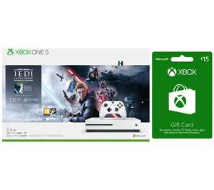 MICROSOFT Xbox One S with Star Wars Jedi: Fallen Order Deluxe Edition & £15 Xbox Live Gift Card Bundle - 1 TB - £213.05 @ currys