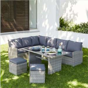 Matara Corner Sofa Rattan Dining Set In Grey £500 (+£12.50 Delivery) @ Homebase (£150 Discount Applied @ Checkout)
