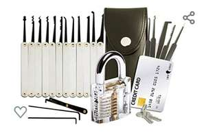 20-Piece Lock Pick Set with Transparent Training Padlock  - £13.97 Prime / £18.46 Non Prime sold by OnTimeFox and Fulfilled by Amazon