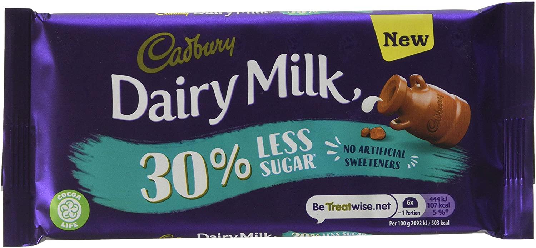 Cadbury Dairy Milk 30% less sugar 85g £1 - min order 6 - total £6 (Prime) / £10.49 Non-Prime @ Amazon