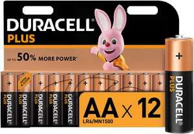 Duracell Plus AA Alkaline Batteries, 1.5 V, LR06 MX1500, Pack of 12 - £5.99 prime / £10.48 non prime @ Amazon