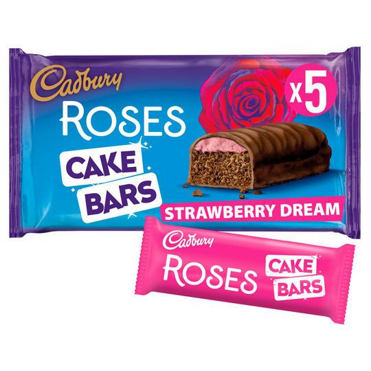 2 x 5 Pack, Cadbury Roses Cake Bars, Strawberry Dream or Orange Creme. £1 Heron Foods Abbey Hulton.
