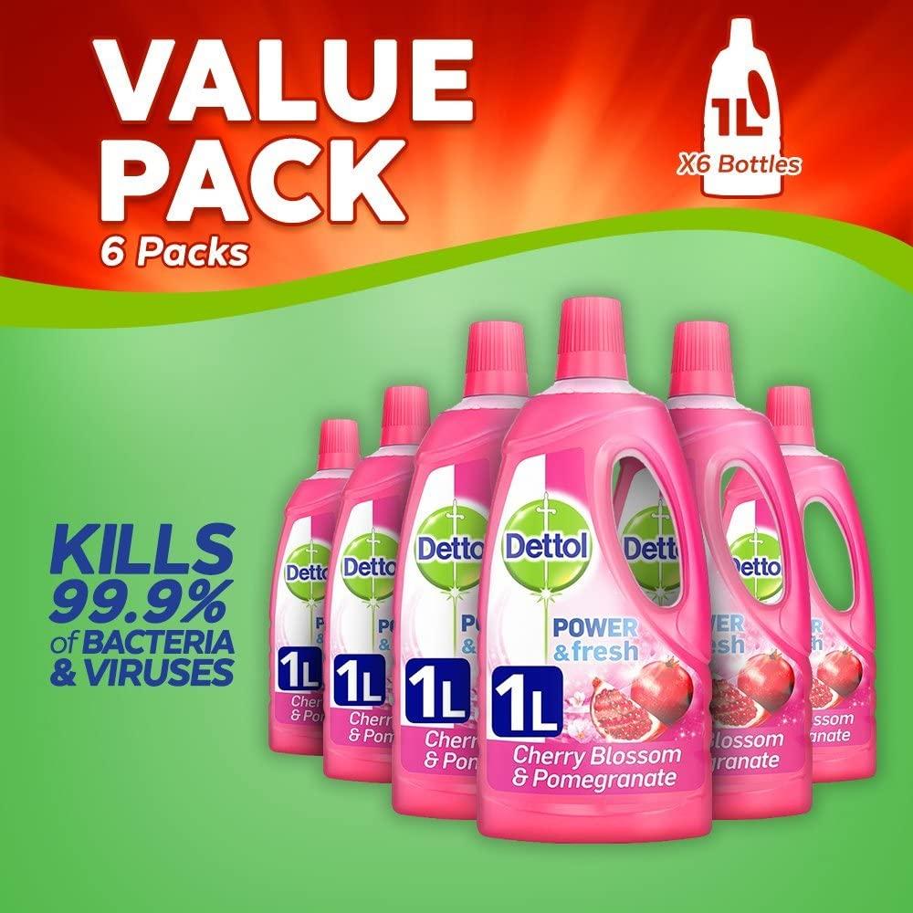 Dettol Power and Fresh Multi Purpose Cleaner 1 L - Cherry Blossom/Pomegranate Liquid (Pack of 6) £13.79 prime / £18.28 non Prime at Amazon