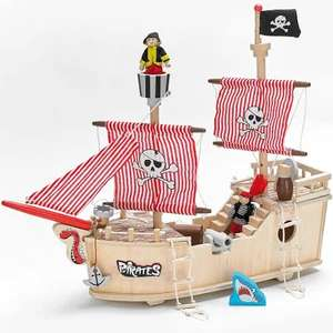 Wooden Pirate Ship complete with Captain and Pirates £17.58 Delivered from Studio