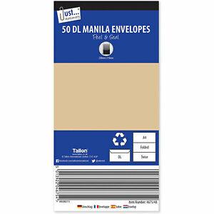 Tallon Just Stationery DL Peel & Seal Manila Envelopes 80gsm Paper (Pack of 50) - £1.69 @ laptopoutletdirect eBay