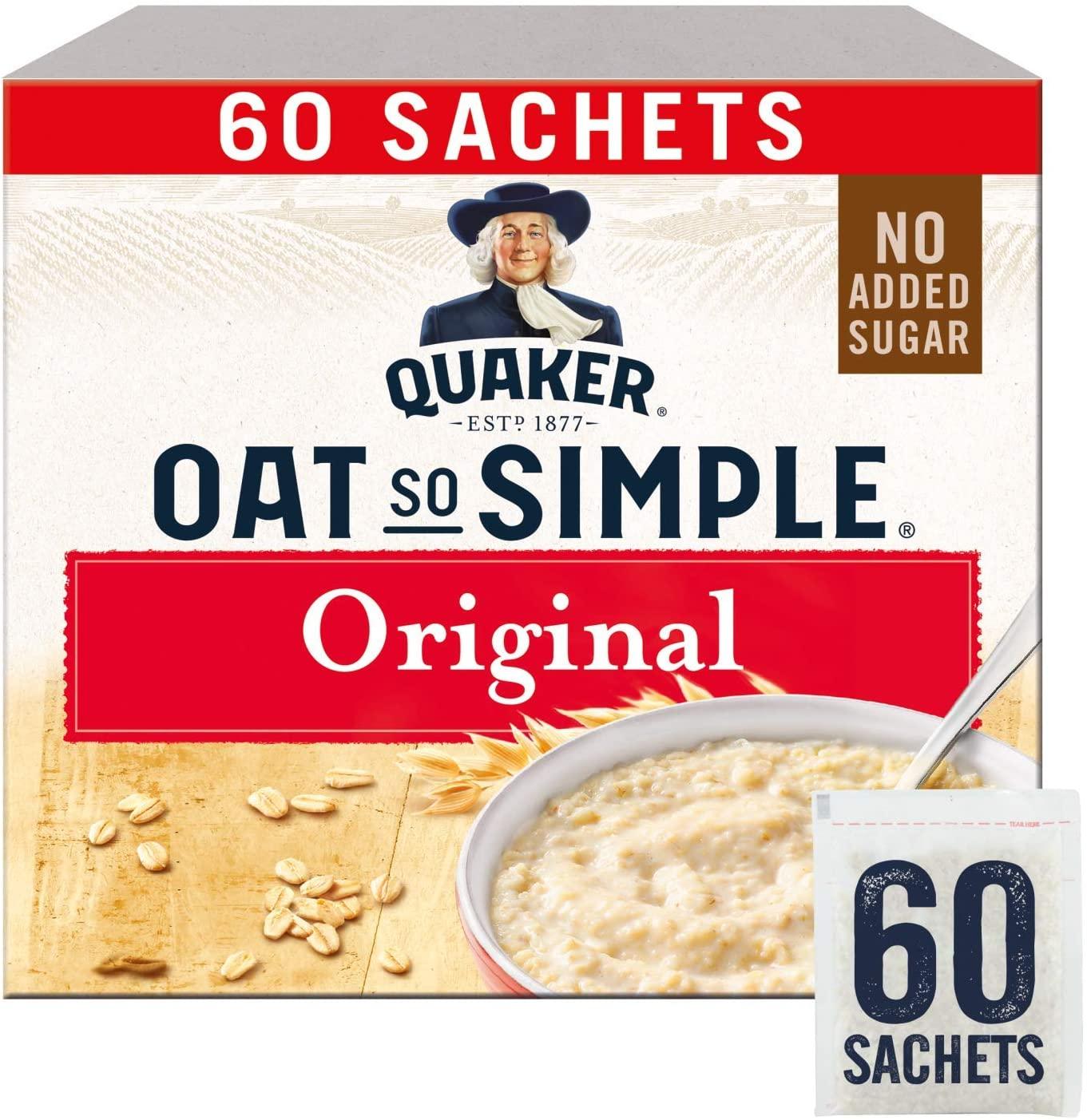 Quaker Oat So Simple Original Porridge Sachets (60 x 27g) £8 (+£4.49 NP) at Amazon