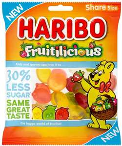 Haribo Fruitilicious Sweets, Sugar Reduced Fruit Flavour Gums, 120g, Pack of 12 - £7.85 prime / £12.34 non prime at Amazon UK