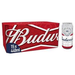 Budweiser Lager Beer Cans 15 x 440ml £9 @ Morrisons (Min basket £40 + up to £5 delivery)