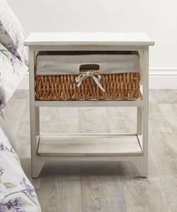 Extra 10% up to 60% Sale Plus Free Delivery, White painted bedside table with basket drawer for storage, lined in linen £17.55 From Damart