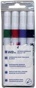 4 Whiteboard Drywipe Marker Pens Bullet Tip Non-Toxic Ink £1.55 Amazon sold by Office Specialties Online Ltd.