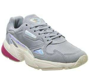 Womens Adidas Falcon Trainers Light Grey Real Magenta Iridescent Trainers Shoes £23.50 at Office on eBay