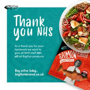 20% off for NHS on Salmon Products @ BigFish (£8 delivery / free £40+)