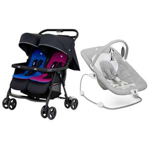 Joie Aire Twin Stroller + Free Joie Wish Bouncer with gentle bouncing motion with two-speeds all for £140 Delivered From online4Baby
