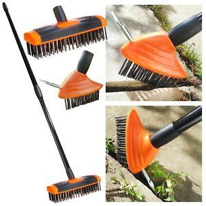 2 Head Heavy Duty Patio Cleaning Metal Wire Brush Telescopic Weed Moss Remover - £19.95 @ burwellshome / eBay