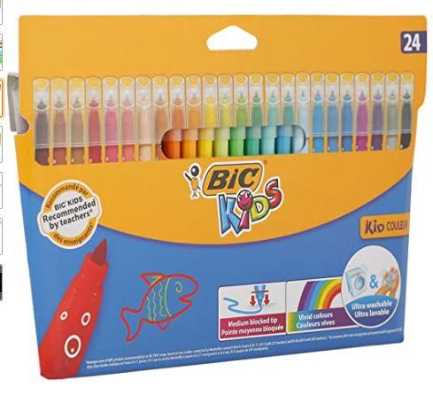 BIC Kids Kid Couleur Felt Tip Colouring Pens - 24 Pack £3.50 + £4.49 NP @ Amazon