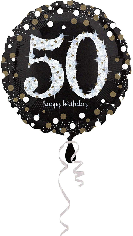"18"" Round 50th Birthday Glittery Gold Standard Foil Balloon £0.62 (Prime) £5.11 (Non-Prime) @ Amazon"