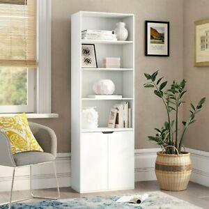 6 Tier White Bookcase With 2 Door Cupboard Storage Wood Shelf Bedroom Shelving - £49.99 @ urbn-living / eBay