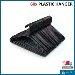 60x Black Plastic Hangers Adult Size - £10.69 @ supergift-1 / eBay