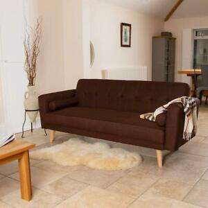 Brown Luxury Stylish Linen Fabric Upholstered Sofa Bed 3 Seater Couch Retro - £119.99 @ wido-uk / eBay