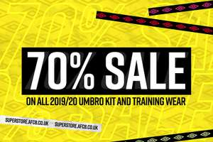 70% sale on all 2019/2020 Bournemouth Umbro kit and training wear. @ AFC Bournemouth