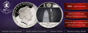 The Royal Platinum Wedding Anniversary Photographic Coin - Just Pay Postage (£2.95) @ London mint office