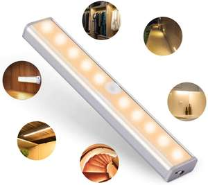 Motion Sensor Closet Light, 10 LED, Wireless, USB Rechargeable Battery £7.99 + £4.49 NP Sold by ousfot and Fulfilled by Amazon.