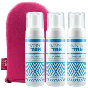 Skinny Tan Mousse(x3) and Mitt £27.99 delivered with code @ SkinnyTan